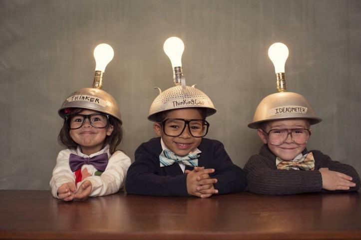 kids with light bulbs